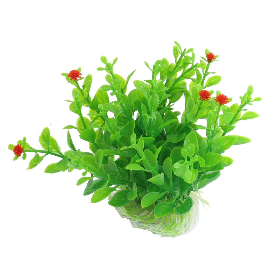 """Fish Tank Aquarium Green Plastic Aquatic Grass Plant Decor 4.9"""" Height"""