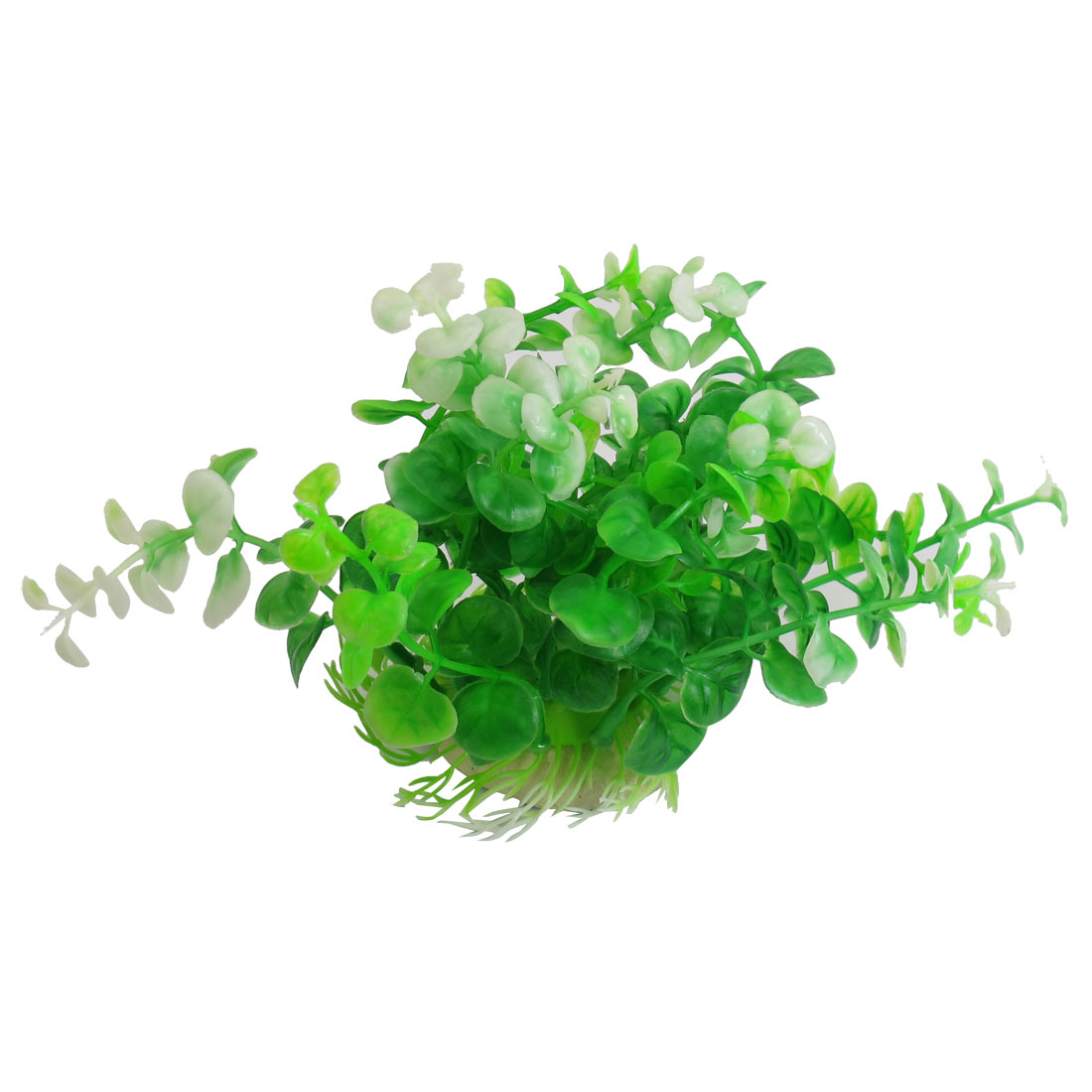 "Fish Tank Aquarium White Green Plastic Grass Plant Decor 4.3"" Height"