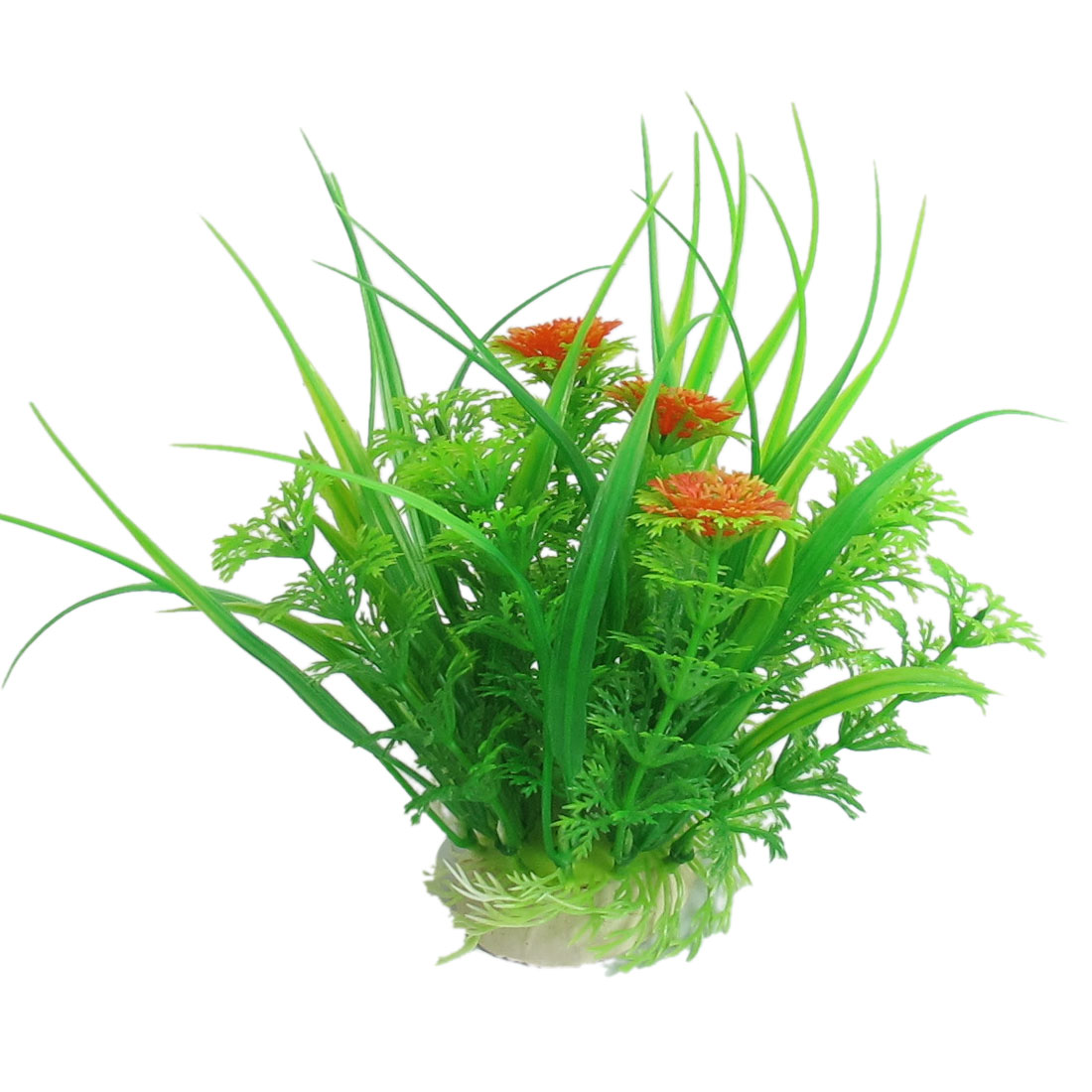 "Fish Tank Aquarium Green Plastic Aquatic Grass Plant Ornament 4.7"" Height"