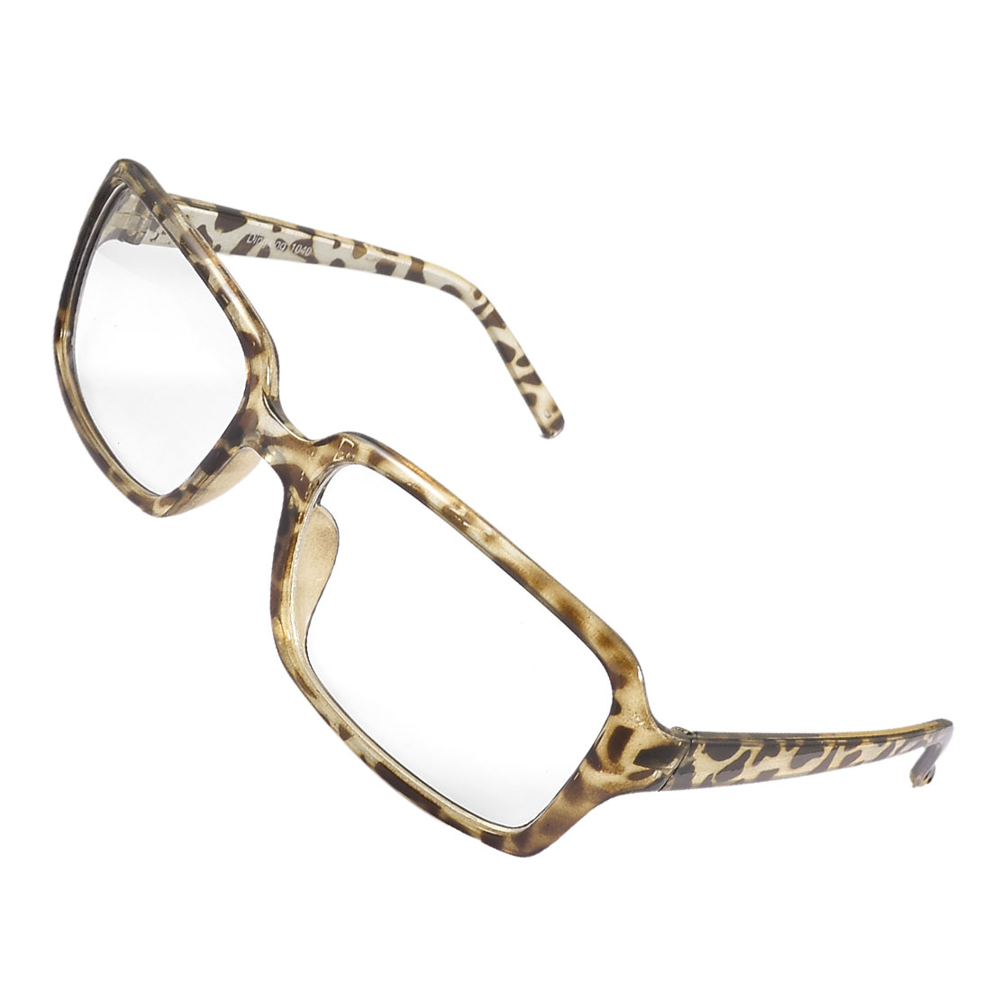 Women Men Brown Plastic Leopard Print Full Frame Clear Lens Plain Glasses