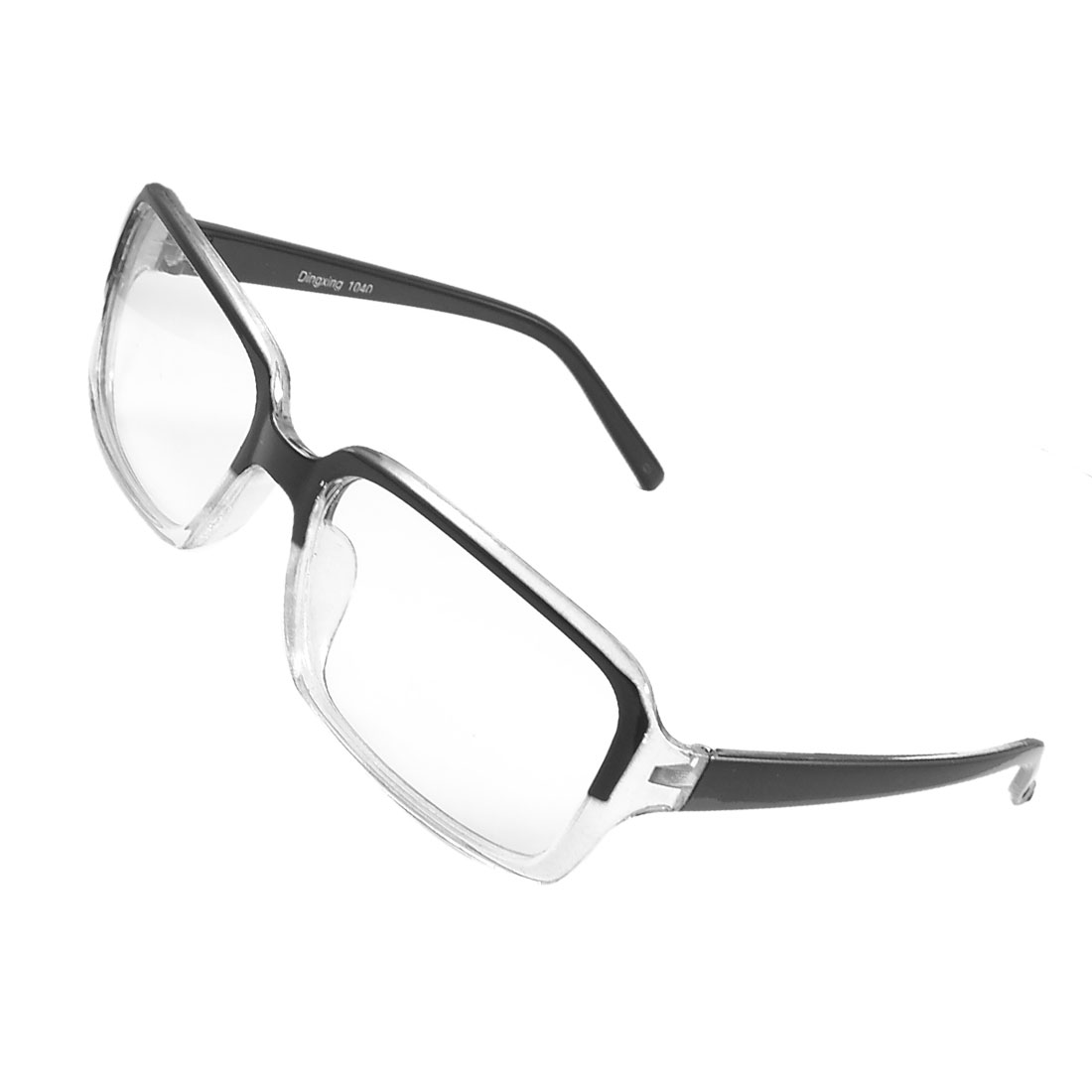 Women Men Black Plastic Full Frame Clear Lens Plain Glasses