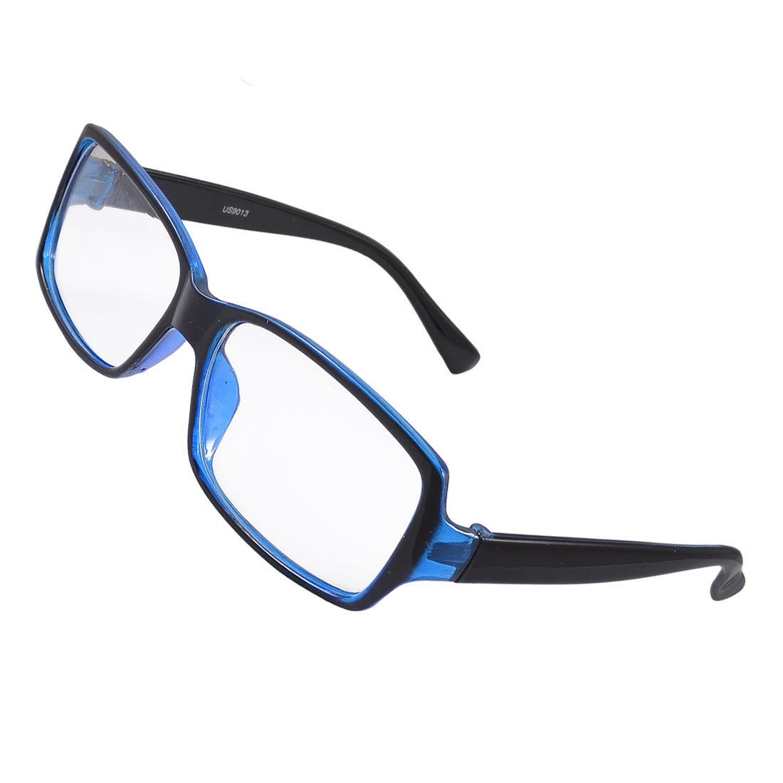 Women Men Blue Plastic Full Frame Clear Lens Plain Glasses