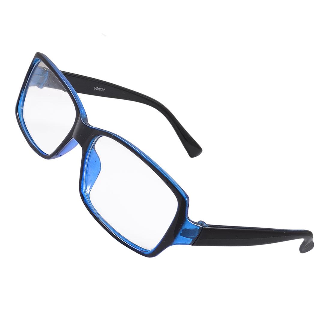 Women Men Blue Plastic Full Frame Clear Lens Plain Glasses