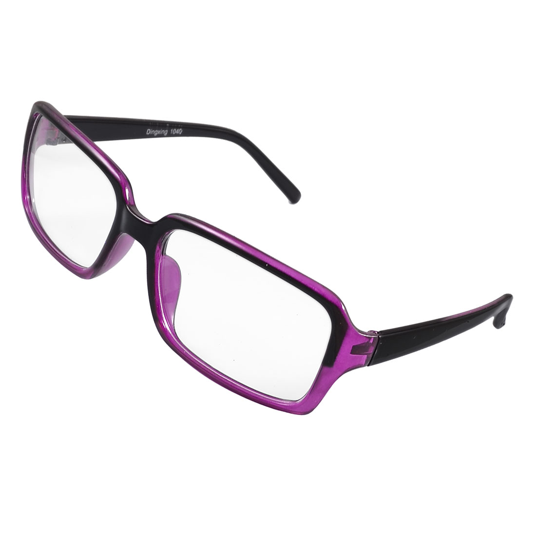 Ladies Purple Plastic Full Frame Clear Lens Plain Glasses