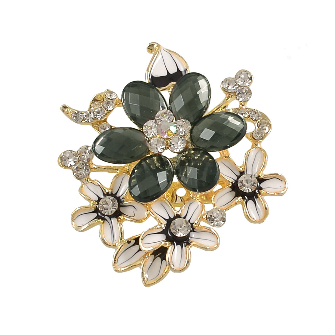 Clear Black Rhinestone Accent Flower Shape Decorated Safety Pin Brooch for Lady