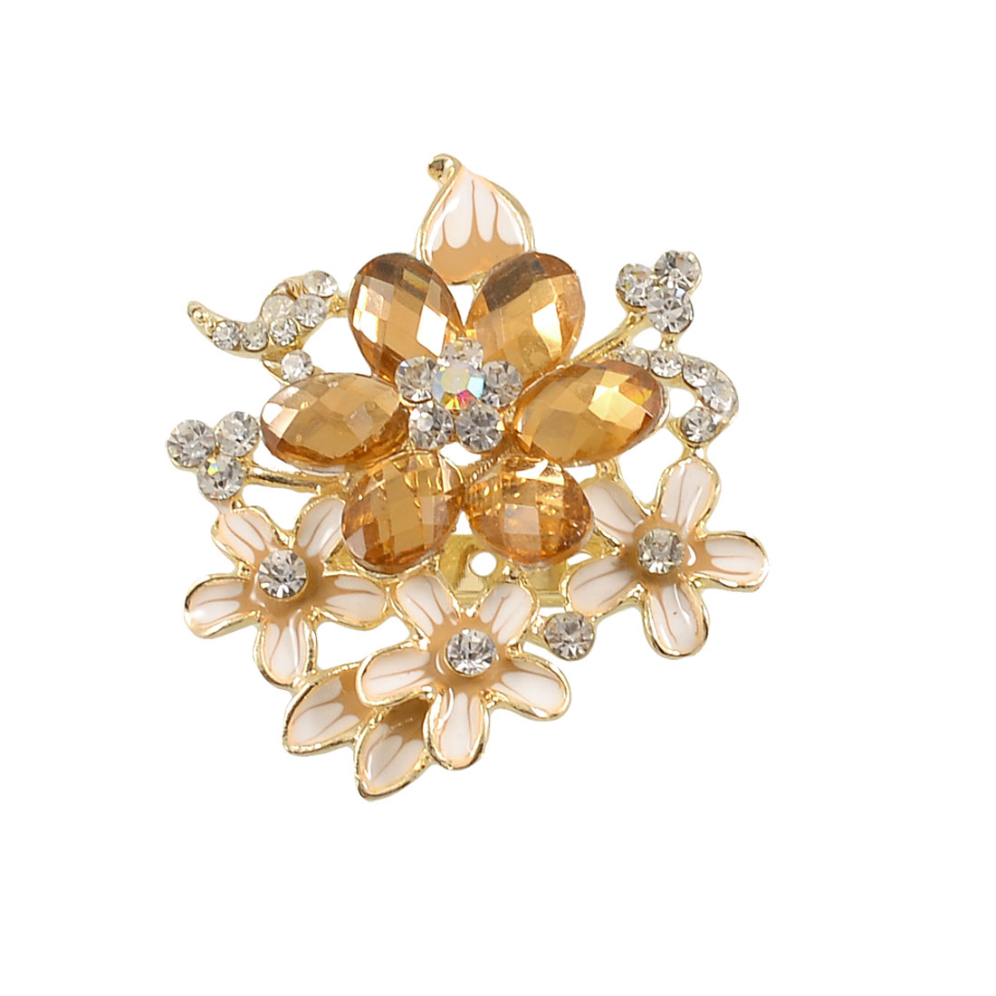 Ladies Amber Rhinestone Inlaid Flower Cluster Decorated Breast Pin Brooch