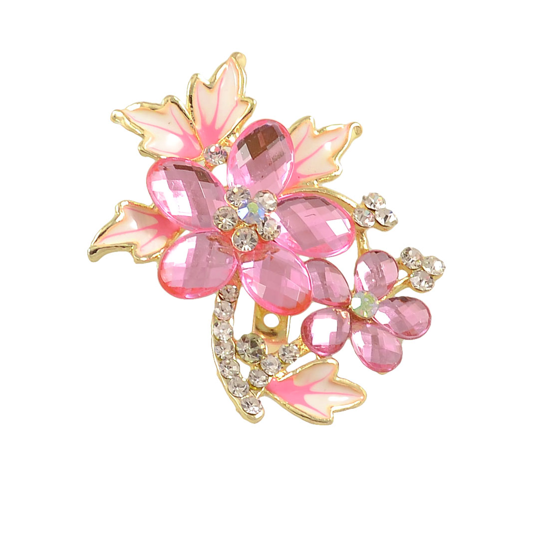 Lady Clear Pink Rhinestone Inlaid Metal Flowering Branch Decor Breast Pin Brooch