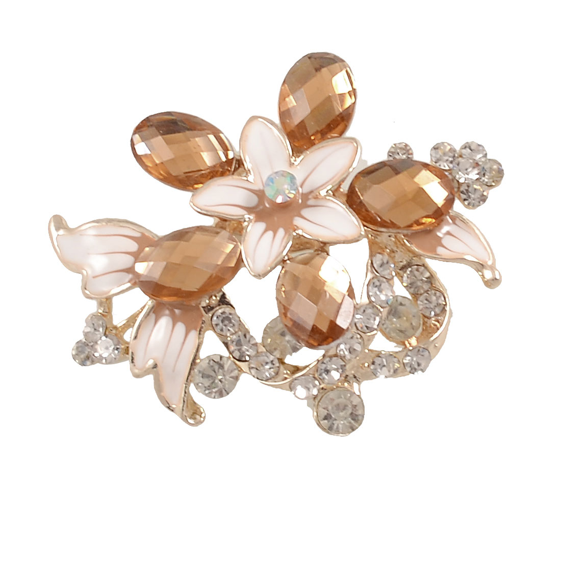 Clear Amber Color Rhinestone Metal Flower Decor Safety Pin Breastpin Brooch for Lady