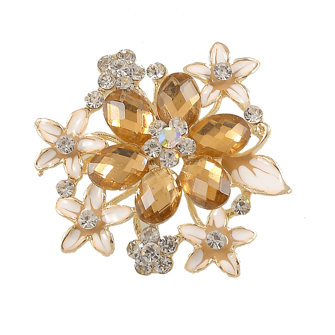 Clear Amber Color Rhinestone Inlaid Flower Cluster Decor Safety Pin Brooch Breastpin