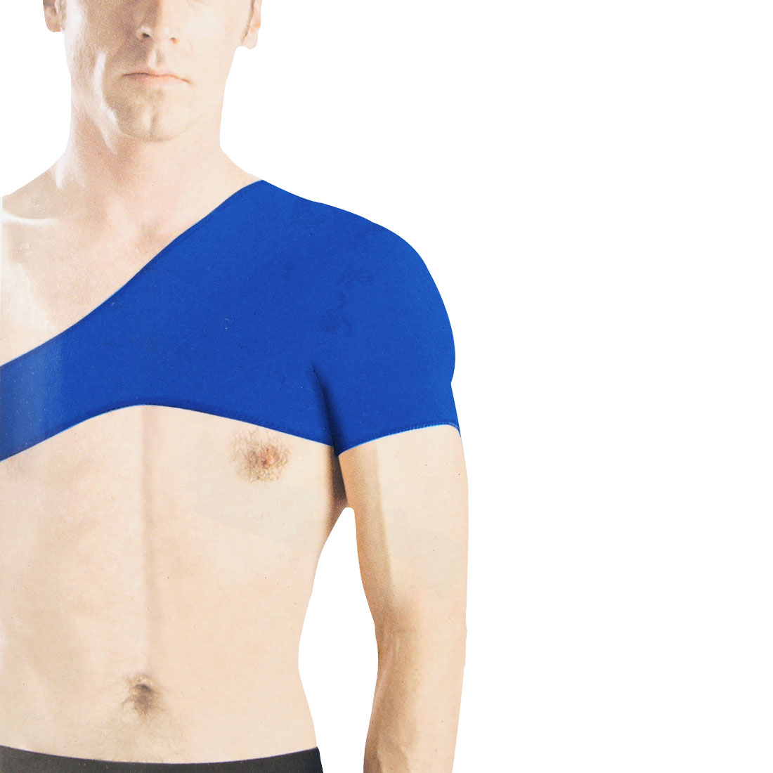 Men Sports Protecting Blue Elastic Neoprene Single Shoulder Brace Support