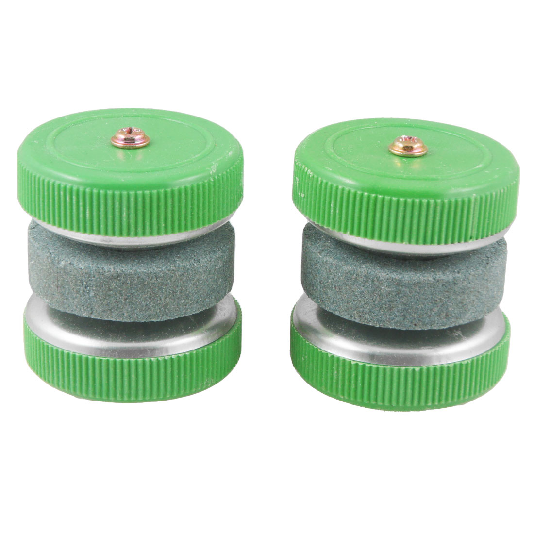 Grit Lapped Round Wheel Sharping Whetstone Sharpener Green 2 Pcs