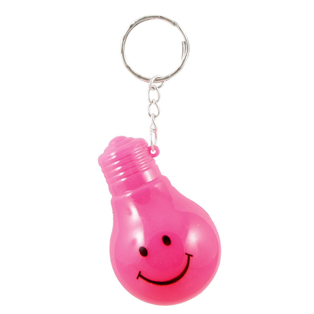 Pocket Fuchsia Smile Face Print Bulb Shape LED Flashlight Key Ring
