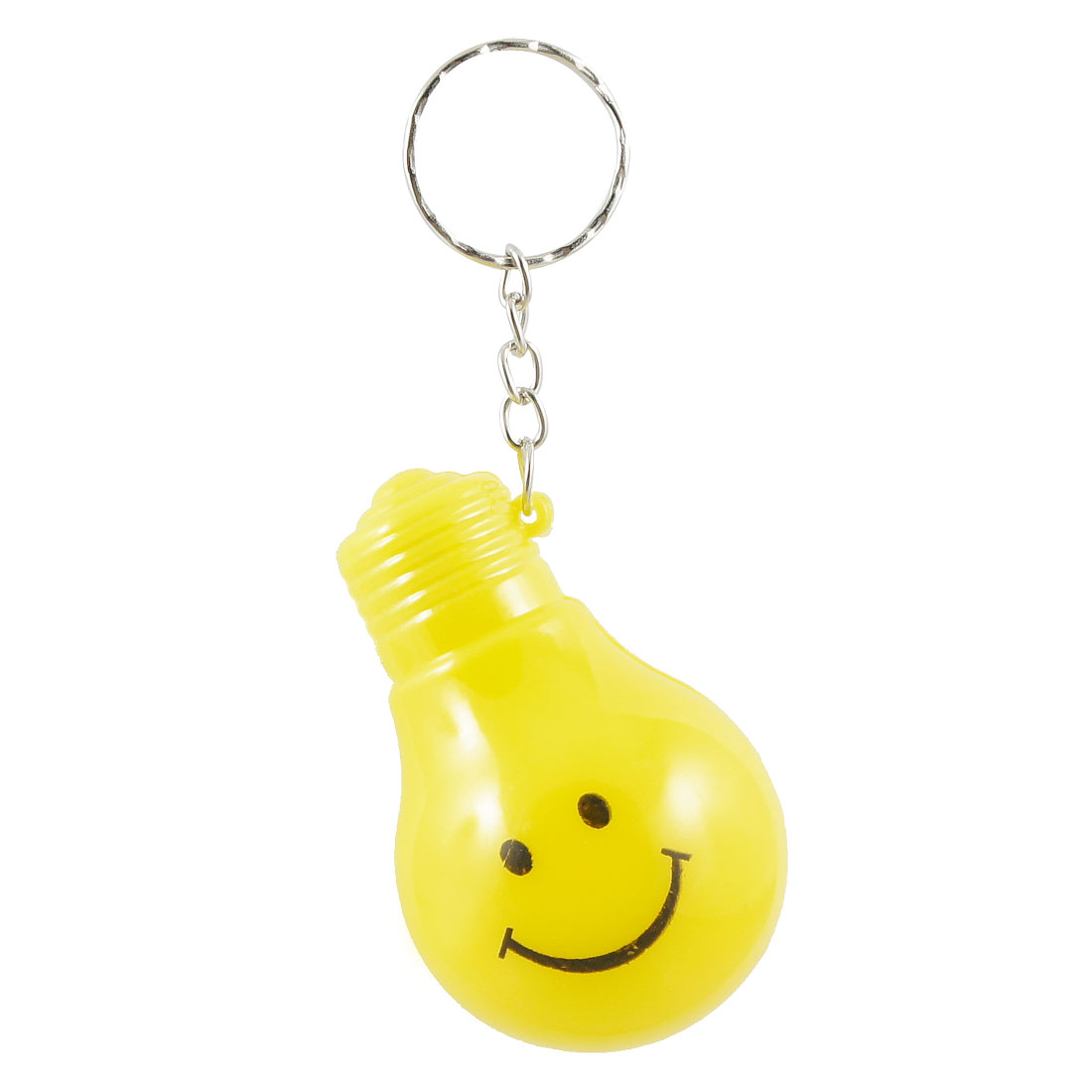 Pocket Yellow Smile Face Print Bulb Shape LED Flashlight Keyring