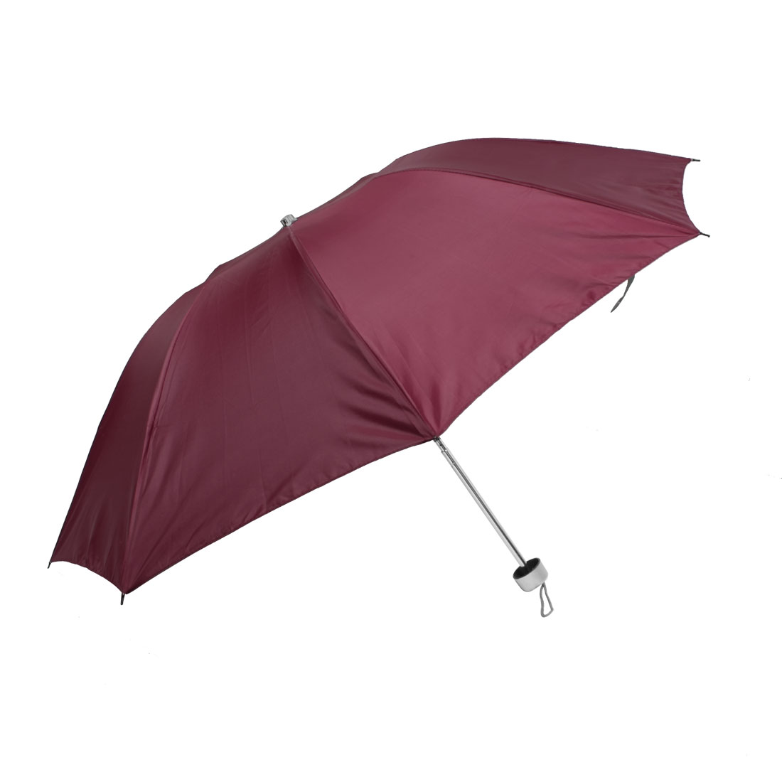 Plastic Handle Water Resistant Fabric Folding Shaft Red Rain Umbrella