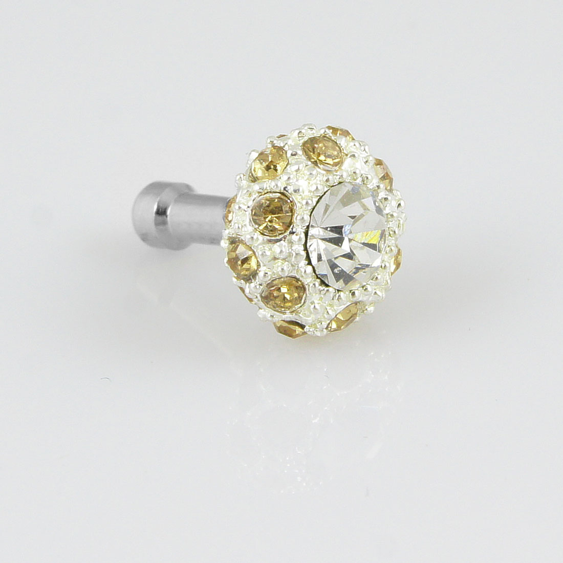Mp3 Mp4 Mobile Phone Bling Yellow Crystal 3.5mm Earphone Anti Dust Plug Stopper
