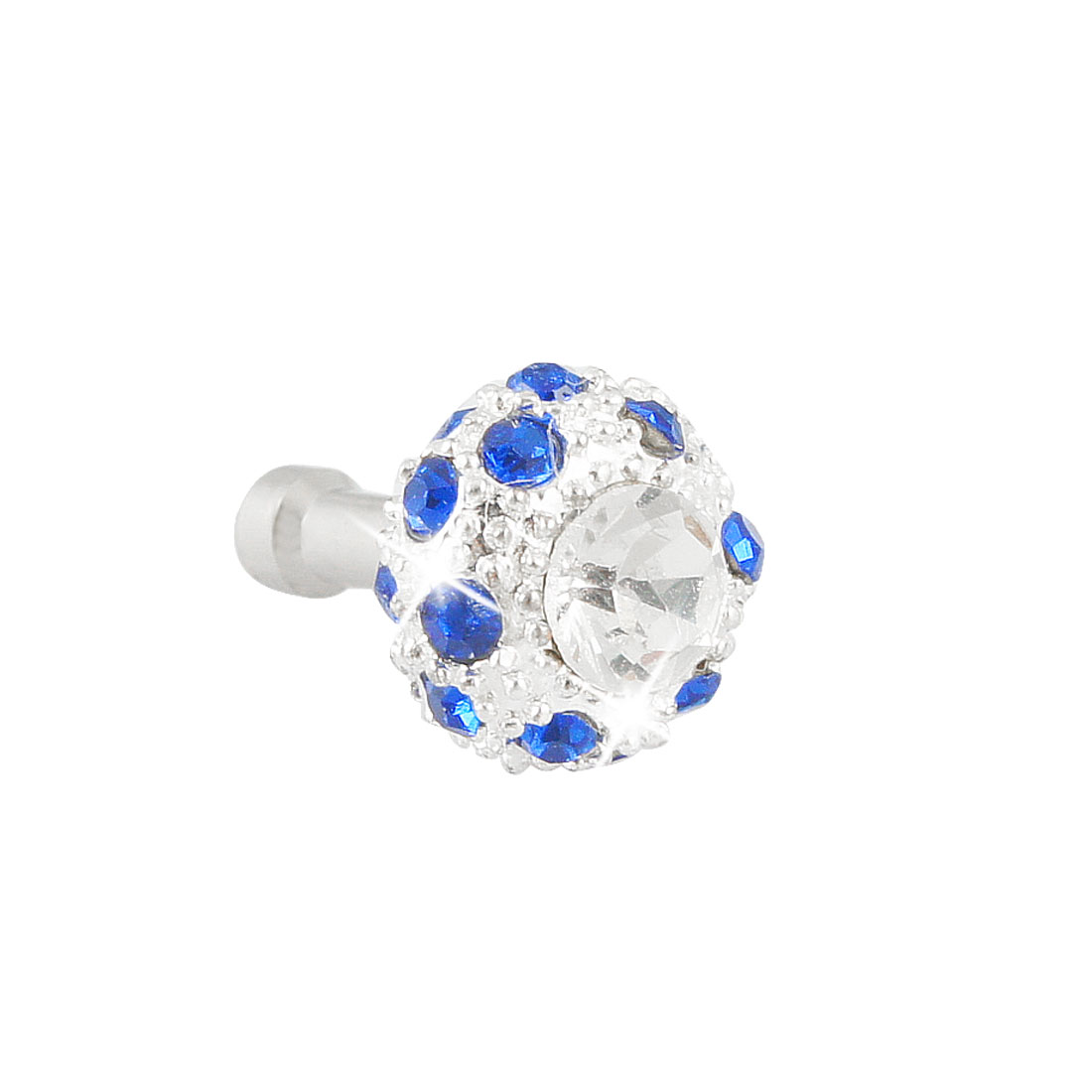Cellphone Laptop Bling Royal Blue Crystal 3.5mm Earphone Anti Dust Plug Stopper