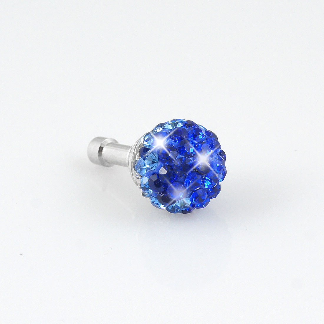 Royal Blue Bling Head 3.5mm Anti Dust Earphone Cap Plug Stopper