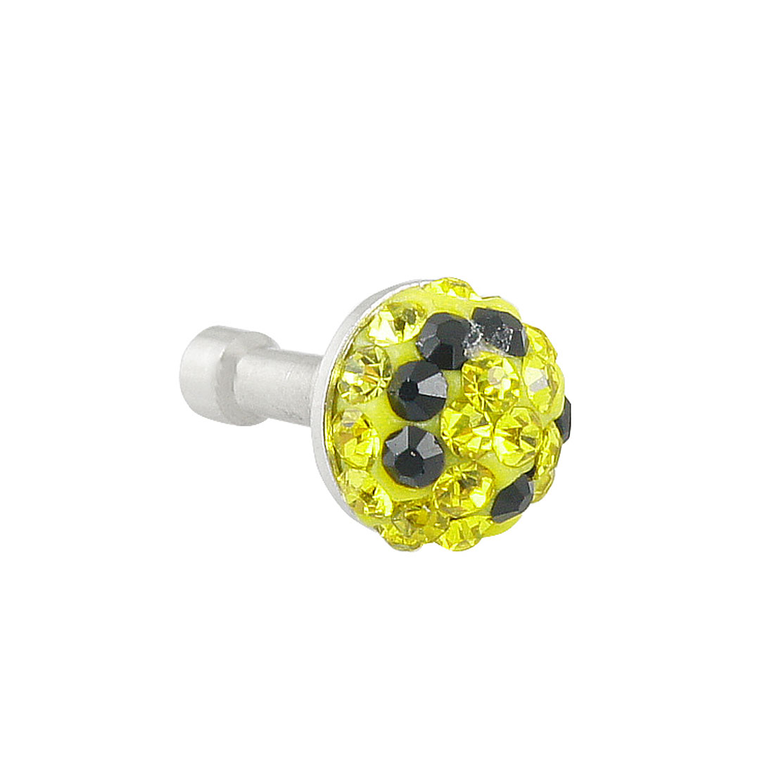 Yellow Bling Crystal 3.5mm Earphone Cap Dust Proof Stopper for iPhone 3G 4S 5G