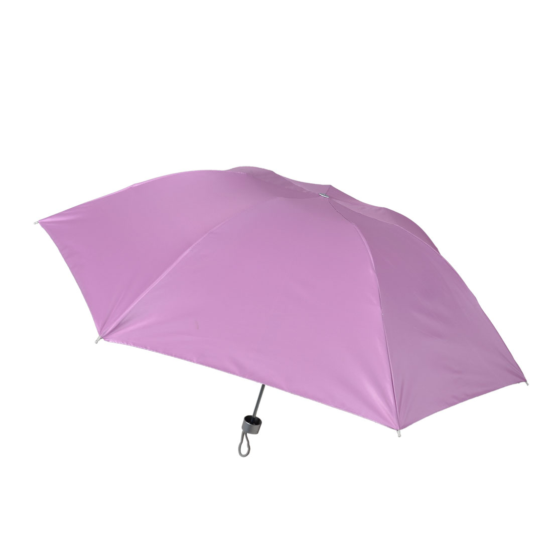 Outdoor 3 Sections Shaft Pink Silver Tone Rain Sun Umbrella w Pouch