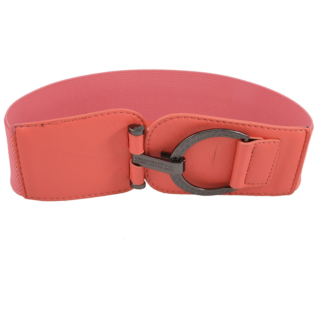 Metal Round Ring Buckle Red Elastic Cinch Waist Belt for Lady