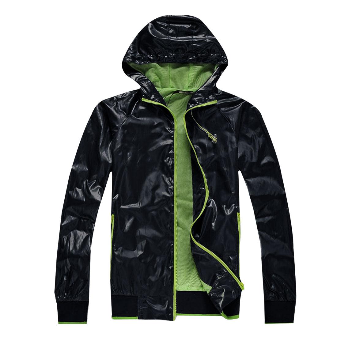Mens Dark Blue Long Sleeve Waterproof Breathable Climbling Jacket L