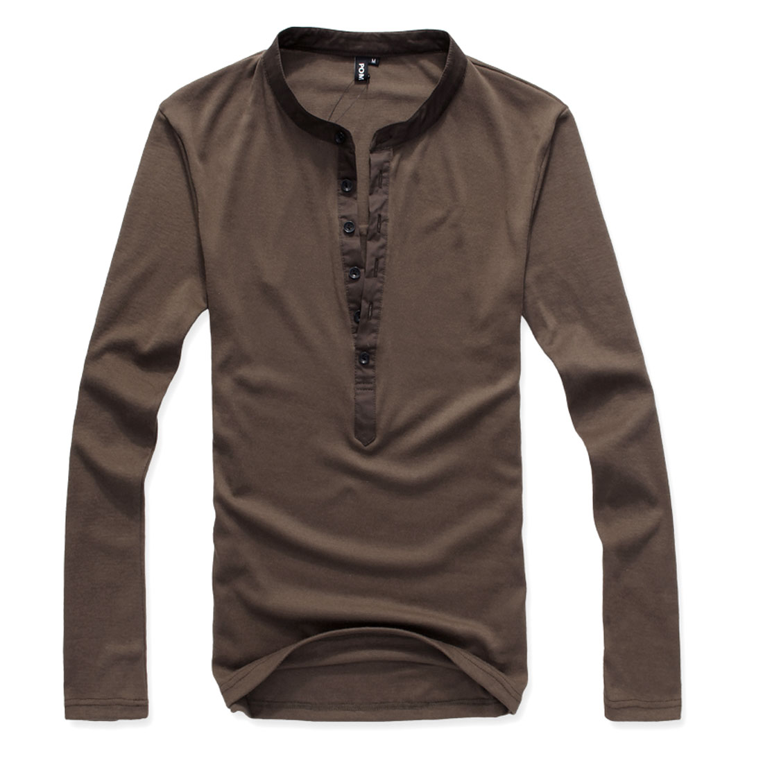 Men Coffee Color Leisure Basic Pullover Stretchy Shirt Top M