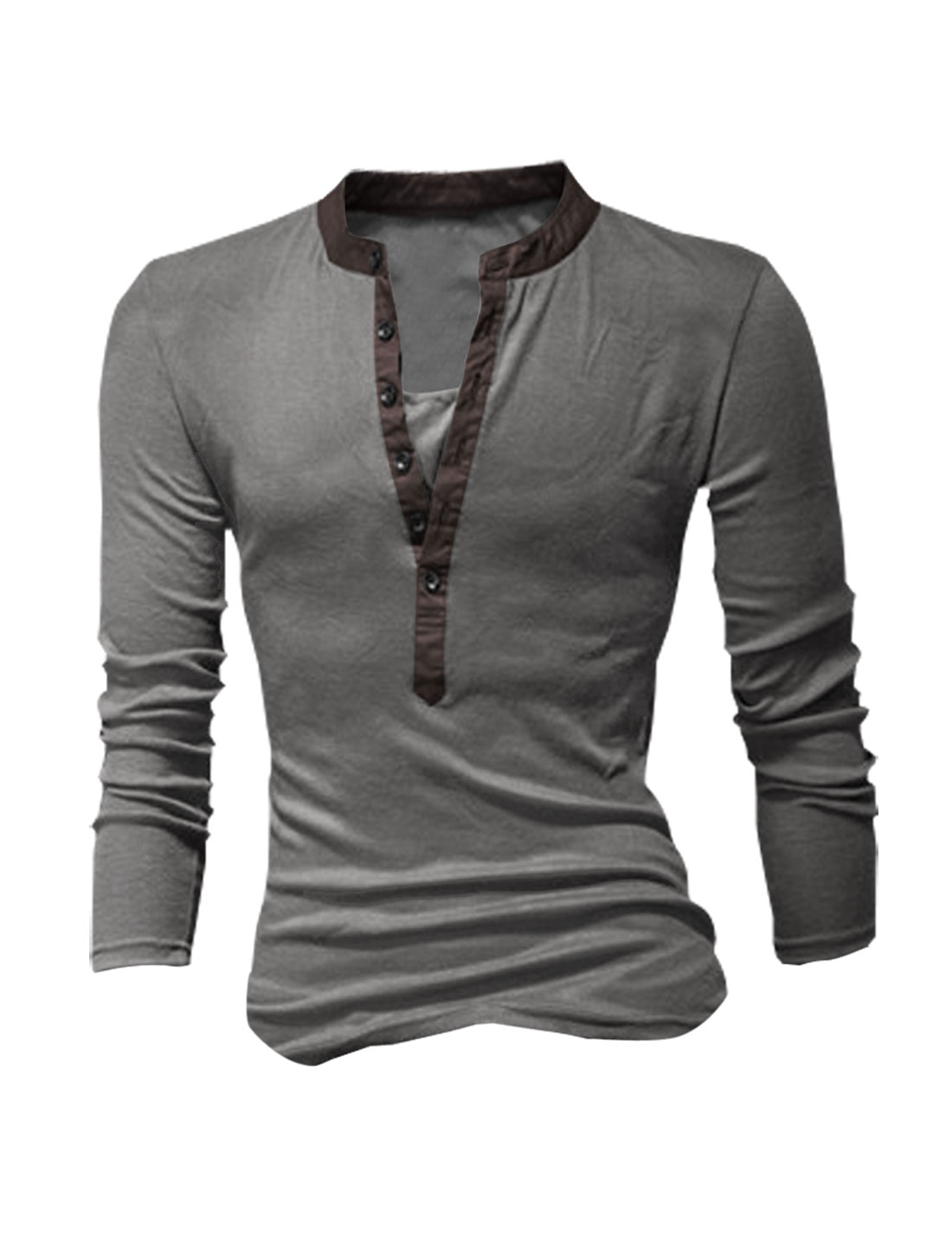 Mens Dark Gray Slim Fit Stretchy Split Neck Design Shirt Tops M