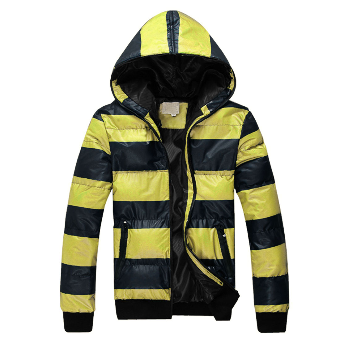 Mens Yellow Dark Blue Zip Up Front Winter New Fashion Padded Hoodie L