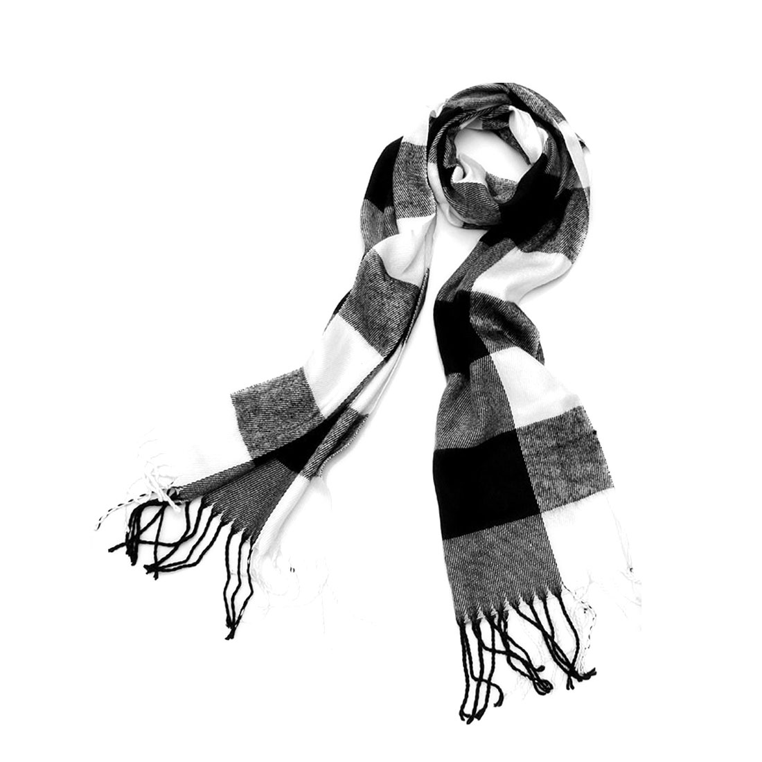 Mens Black White Fashion Plaids Pattern Design Neckwear Scarf