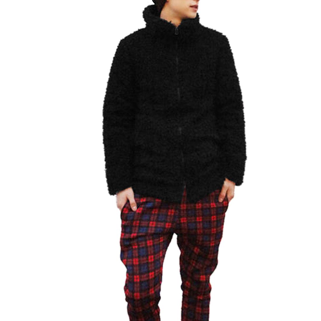 Men Black Long Sleeve Convertible Collar Side Pockets Fleece Plush Furry Coat M