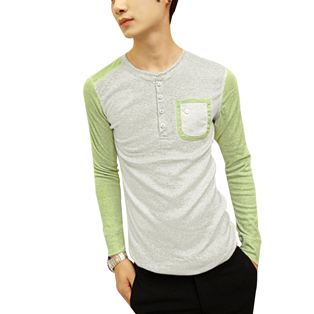 Men Light Gray Lime Green Long Sleeves Pullover Henley shirt S