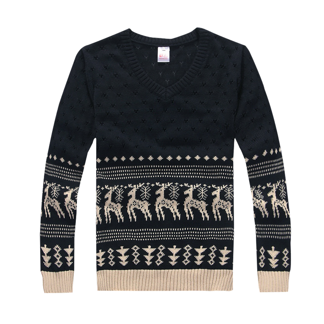 Men Dark Blue Cut Out Hole Design Deers Pattern Sweater S