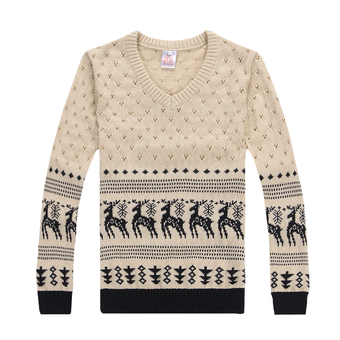 Mens Beige V Neckline Pullover Long Sleeve Trees Prints Sweater S