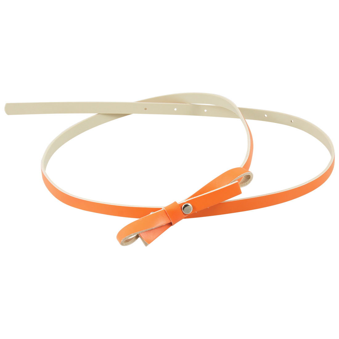 Orange Butterfly Bowtie Decoration Faux Leather Waist Belt for Women