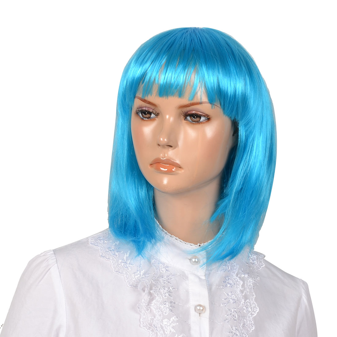 Woman Lady Cyan Synthetic Fiber bob Style Short Straigh Hair Wig