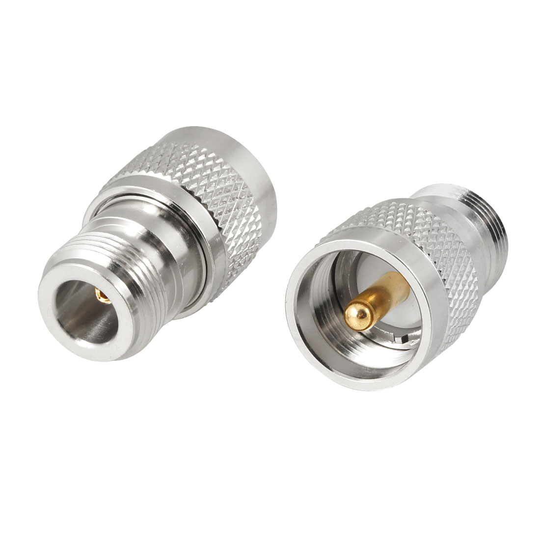 Silver Tone Blue UHF Male Jack to N Type Female RF Coaxial Cable Adapter 2 Pcs