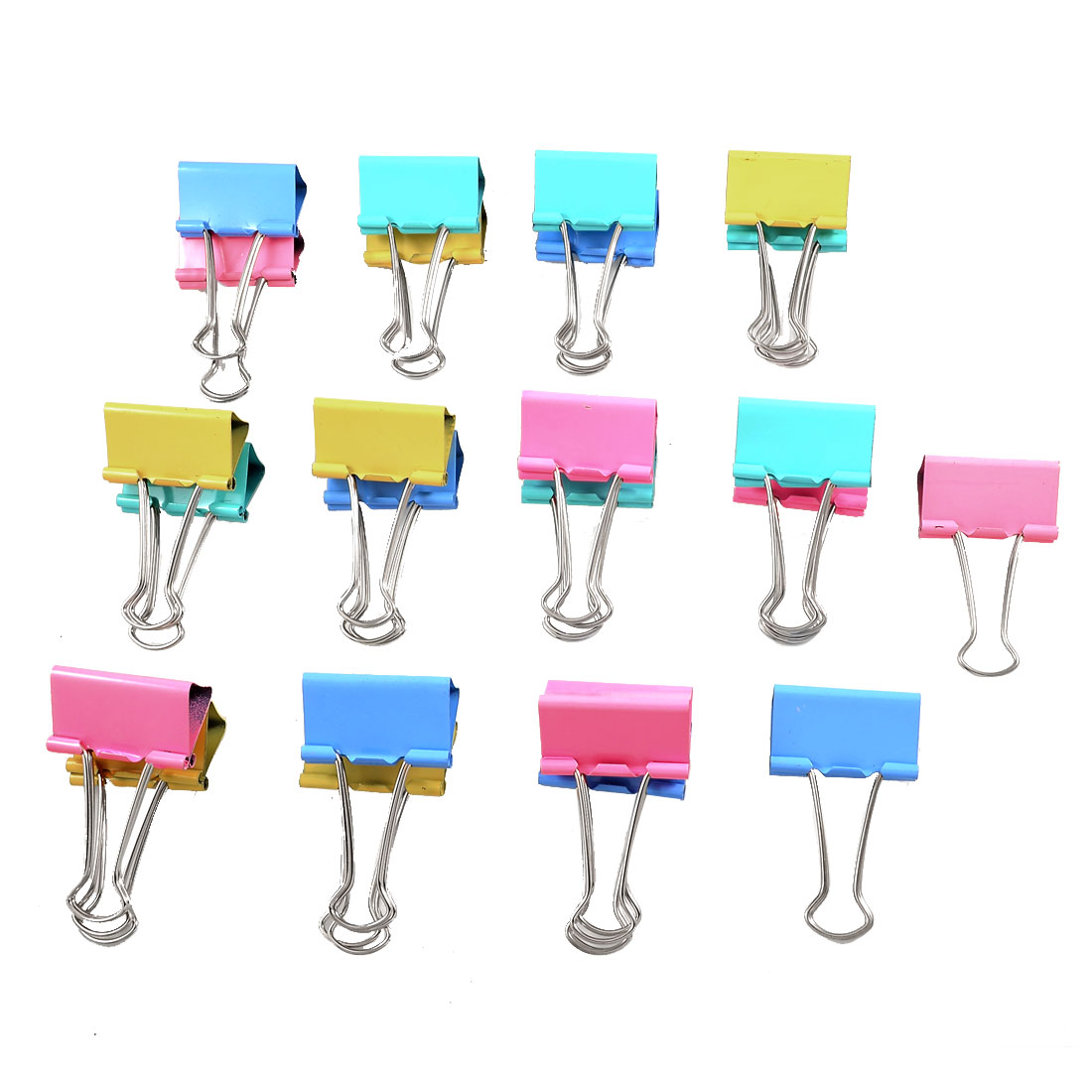 24 Pcs Metal Assorted Color Document File Binder Clips 41mm Width