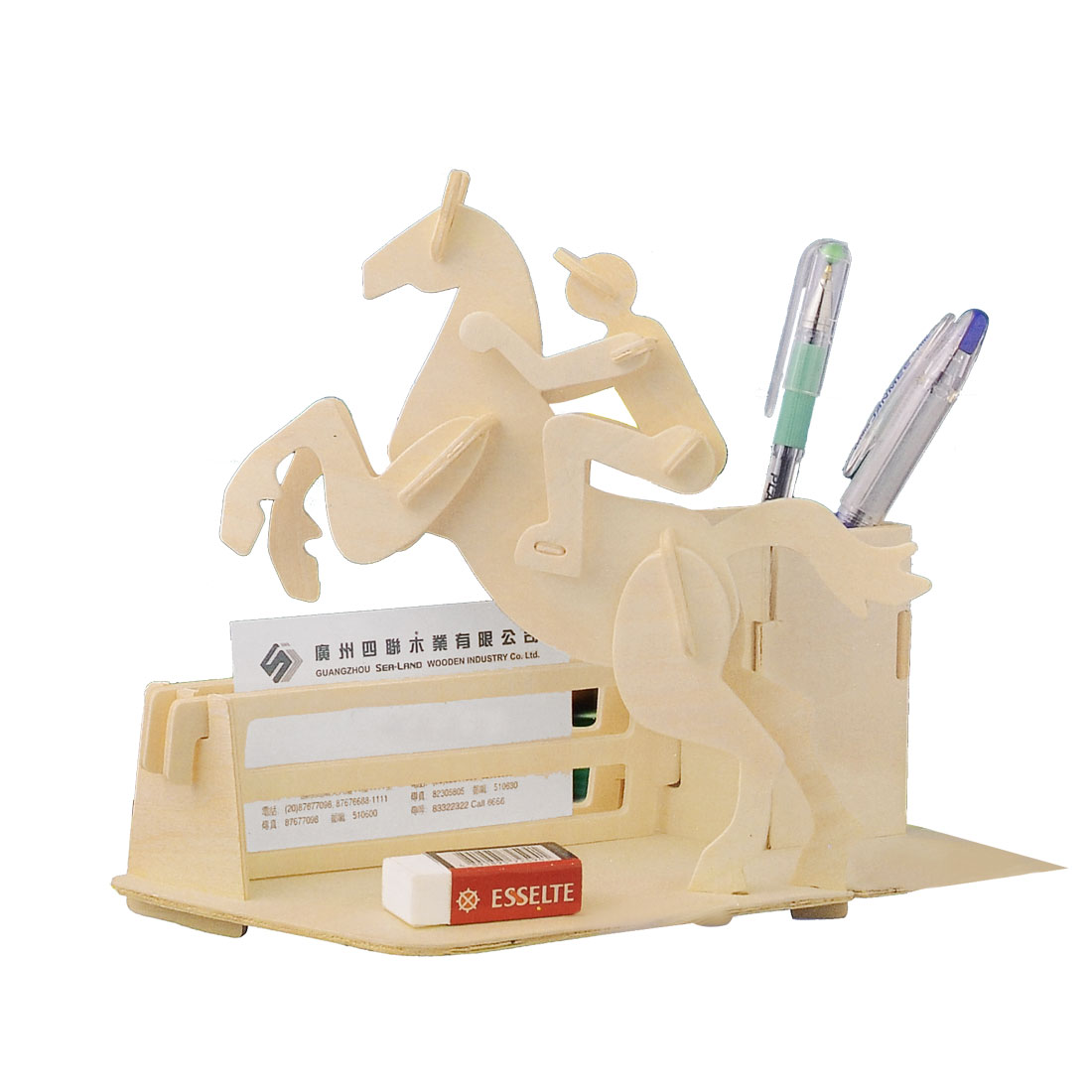 3D Horse Riding Pen Holder Woodcraft Construction Kit DIY Assembling Toy