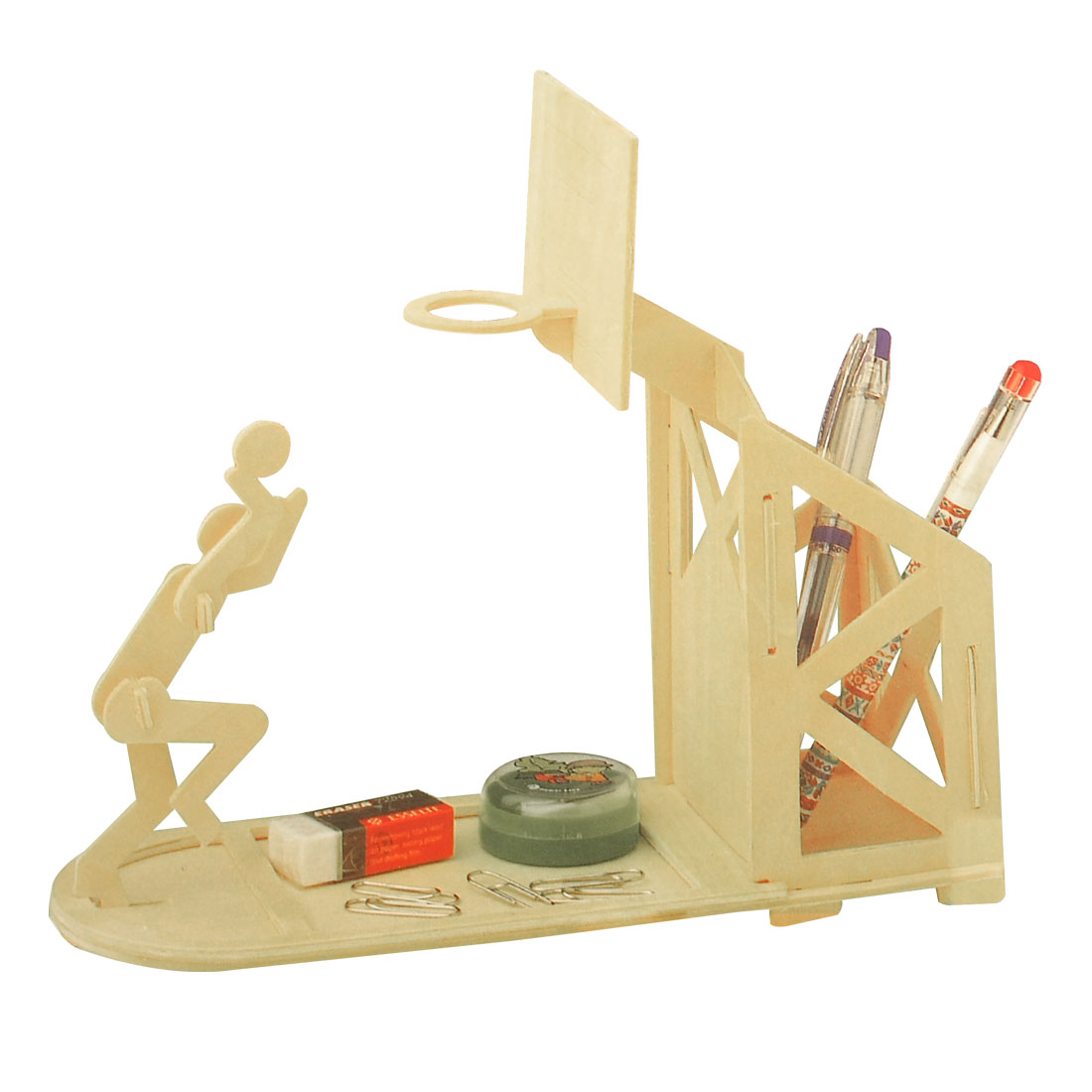 Wooden Basketball Pen Holder Woodcraft Construction Kit Assembling Puzzle Toy