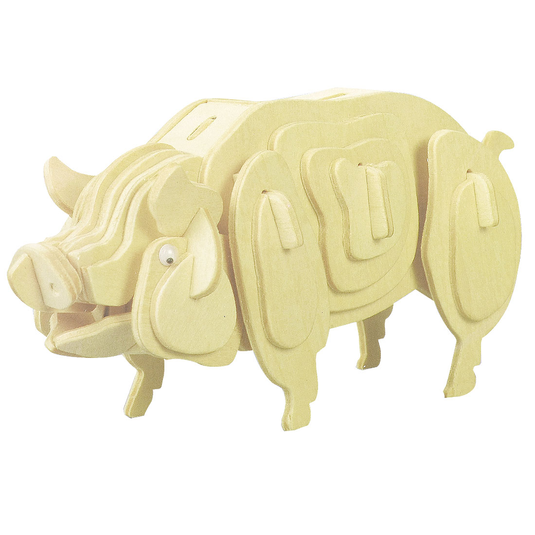 Kids DIY 3D Pig Wooden Assembly Puzzle Toy Woodcraft Construction Kit