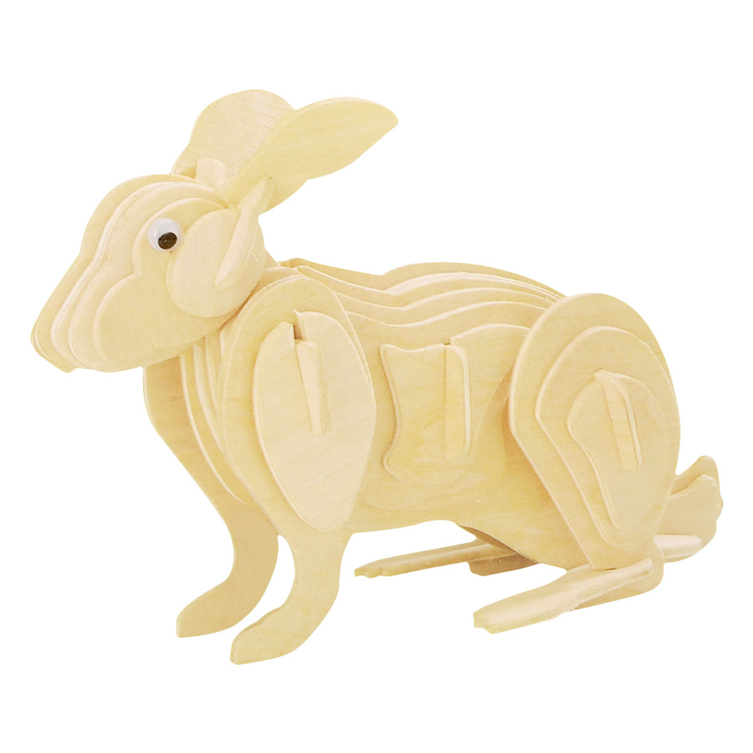 Children DIY Wooden Rabbit Model 3D Puzzle Toy Gift Woodcraft Construction Kit