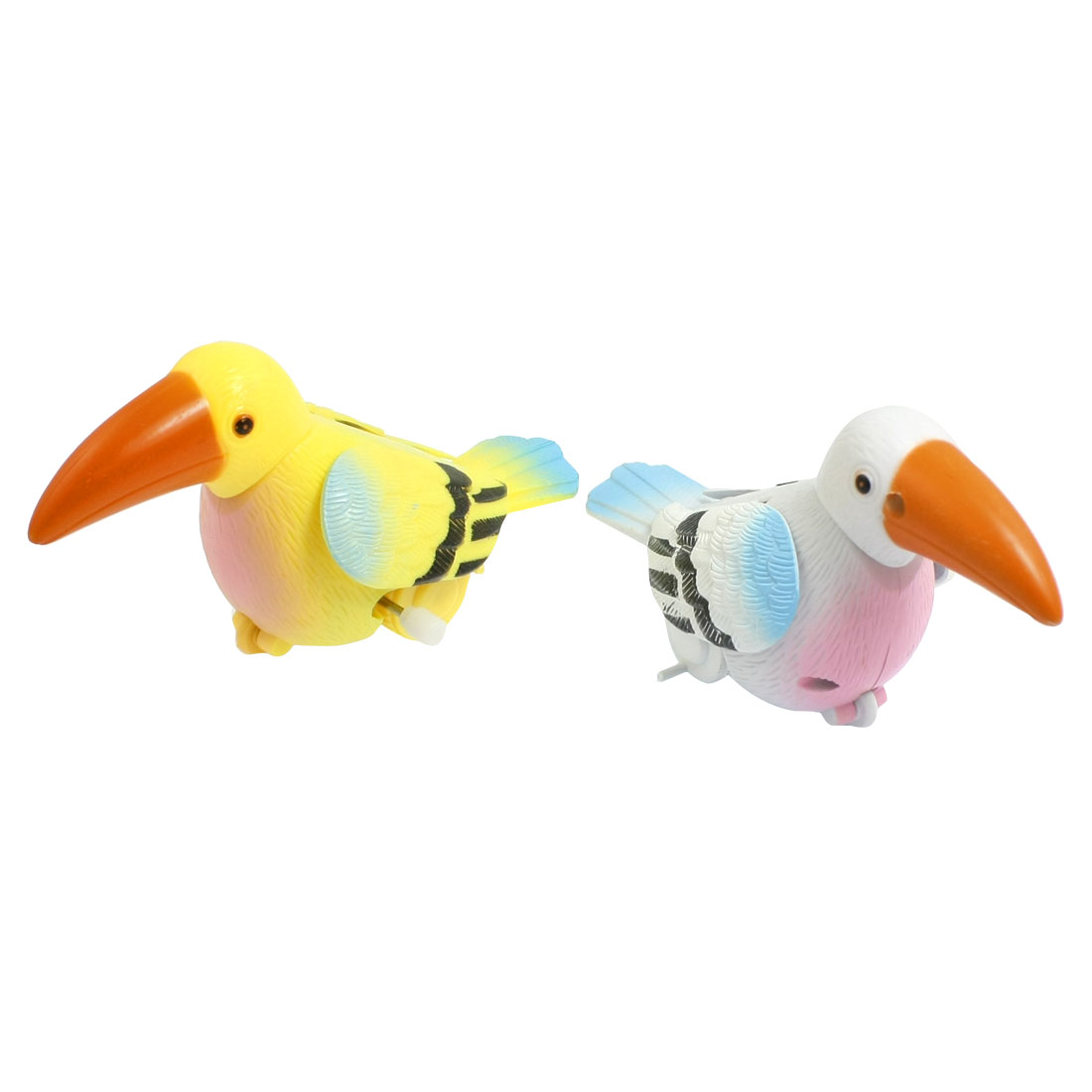 2 Pcs Children Playing Plastic Woodpecker Clockwork Spring Toy Yellow White