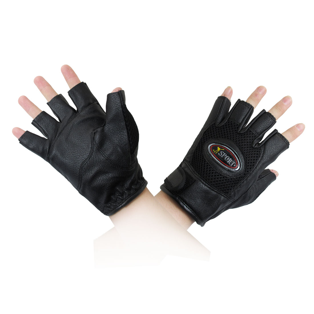 Black Mesh Hole Design Sports Bicycle Gloves for Adult