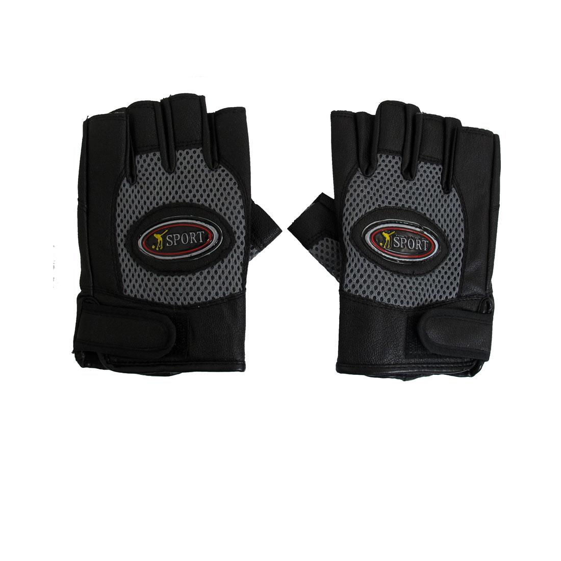 Black Light Gray Hook Loop Fastener Half Finger Glove Pair