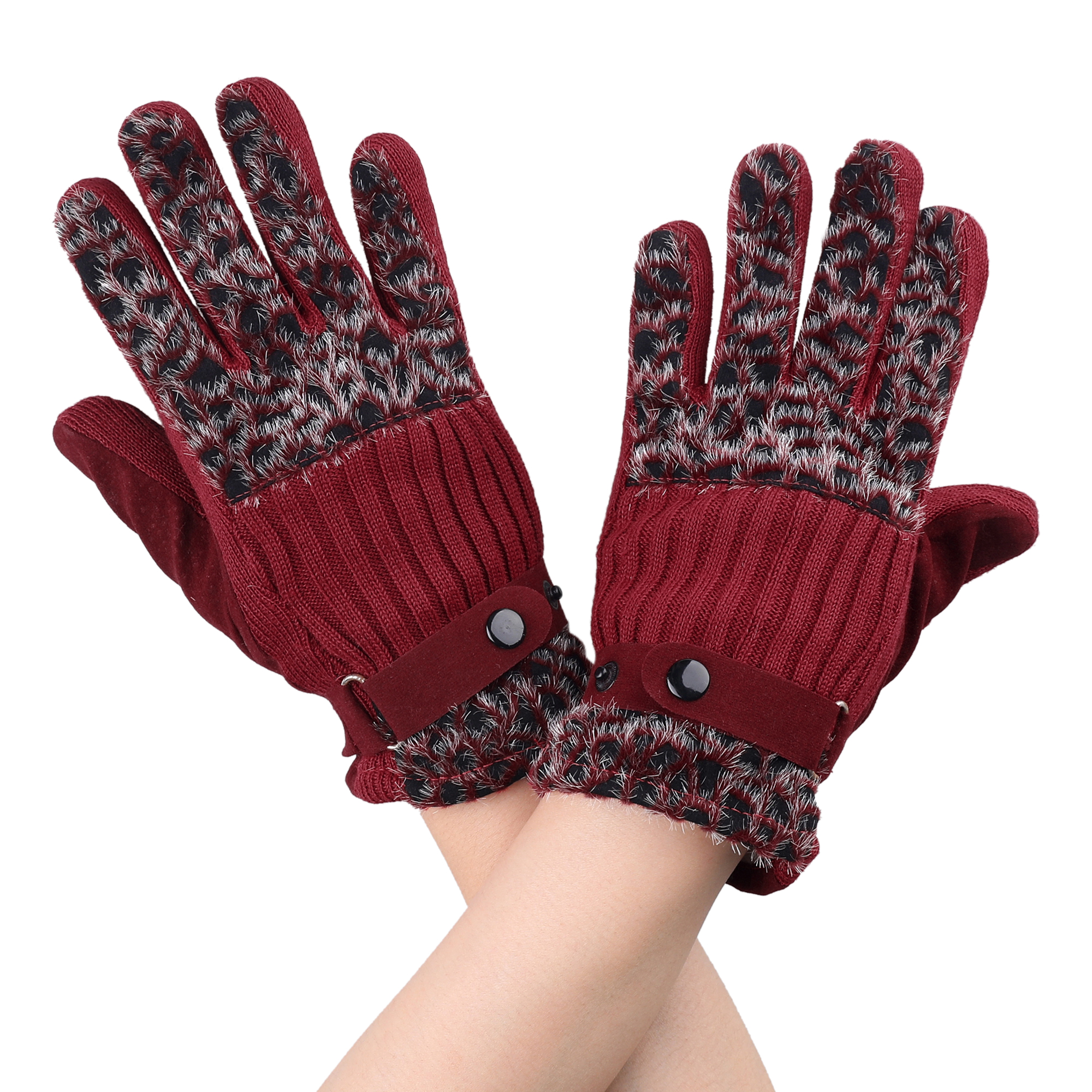 Wine Red Full Finger Leopard Pattern Winter Gloves Pair for Ladies