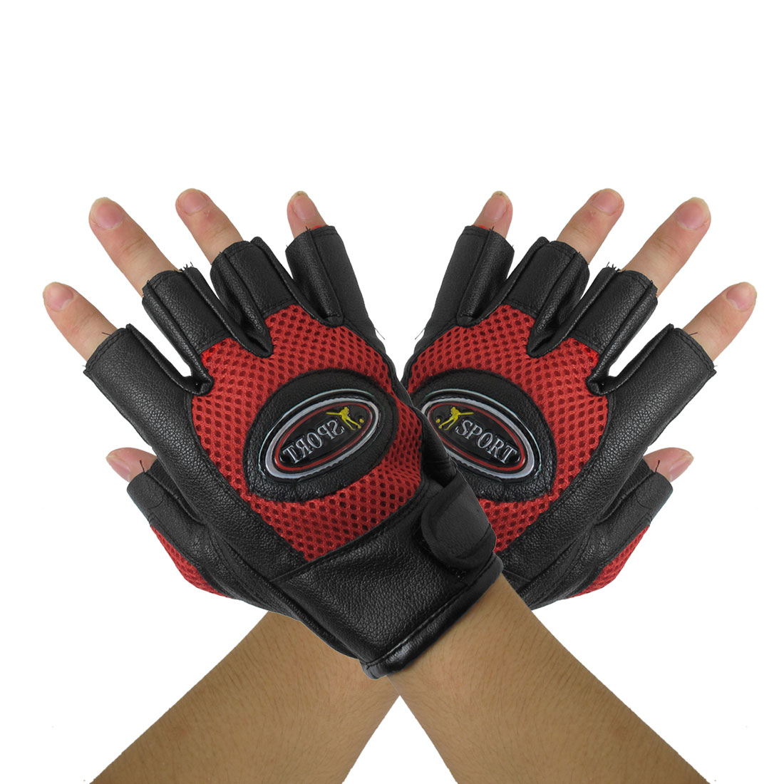 Adult Red Black Mountain Bike Driving Half Finger Glove Pair