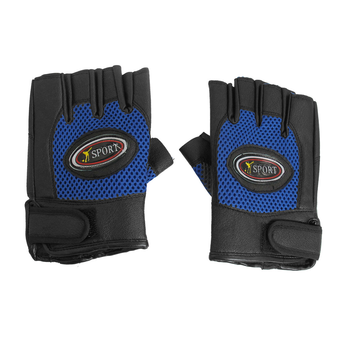 Adult Blue Black Mountain Bike Driving Half Finger Glove Pair
