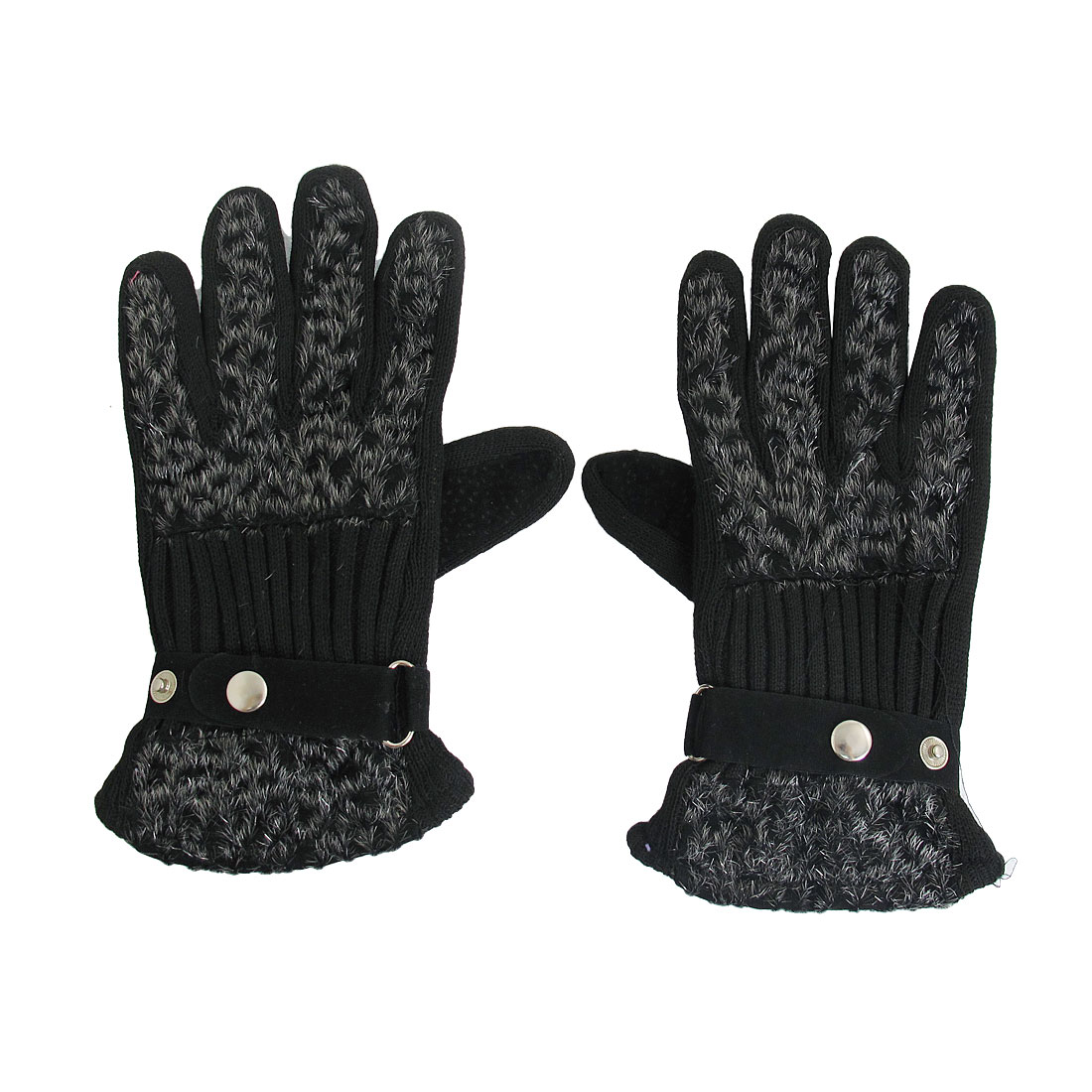 Black Leopard Pattern Full Finger Gloves Mittens for Ladies