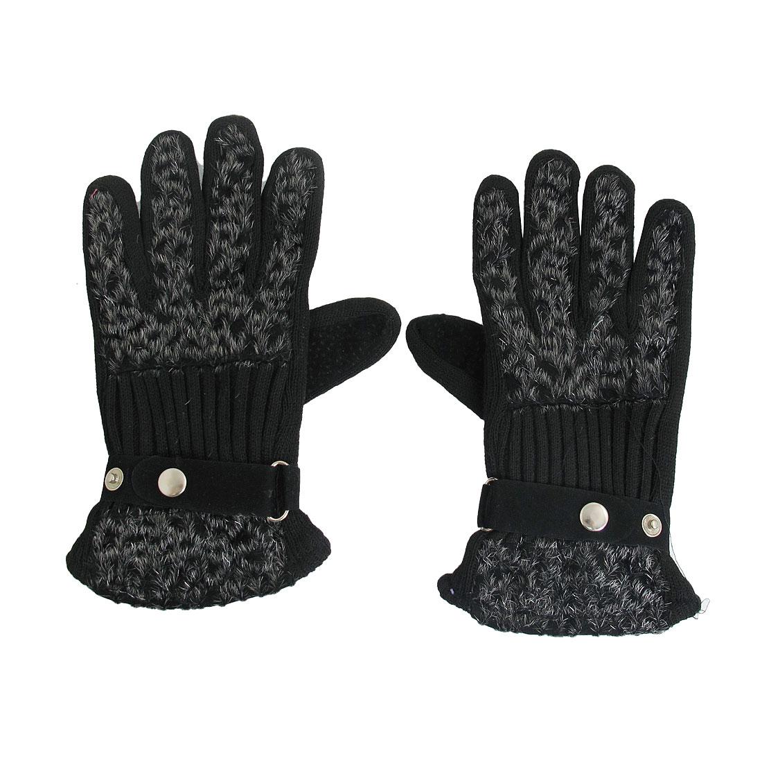 Black Leopard Pattern Full Finger Gloves Mittens for Ladies