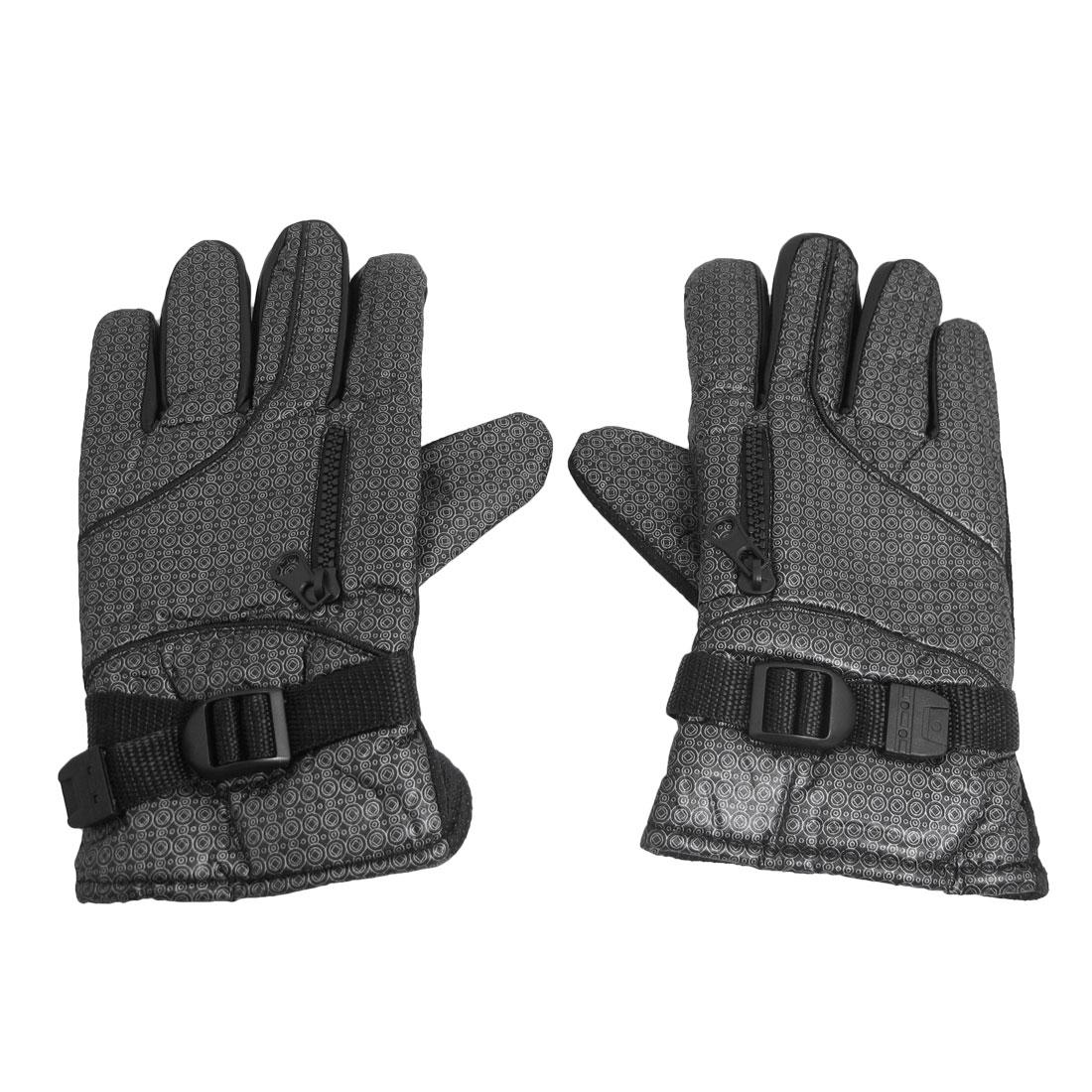 Black Full Finger Antislip Palm Warmer Gloves Decor for Men